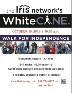 White Cane Walk for Independence 2013 Poster